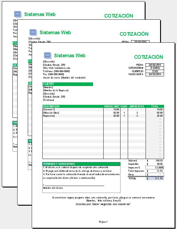 Plantilla de cotización Excel – Plantillas Gratis
