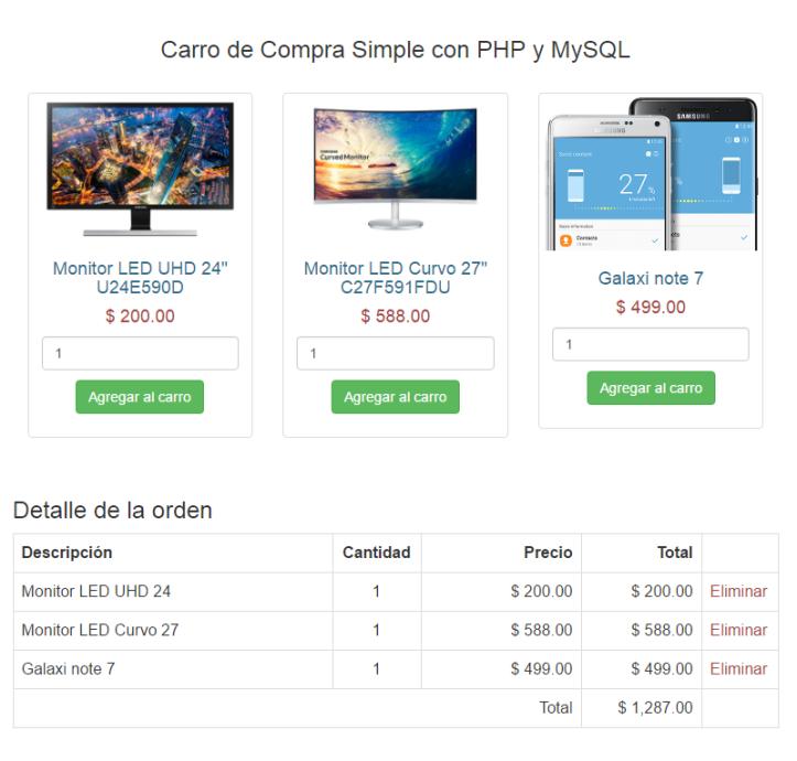 Carro de Compras Simple con PHP y MySQL – Plantillas Gratis