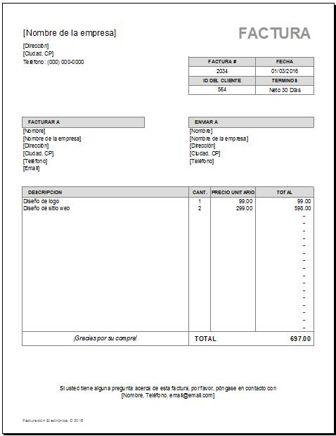 modelos de facturas en excel