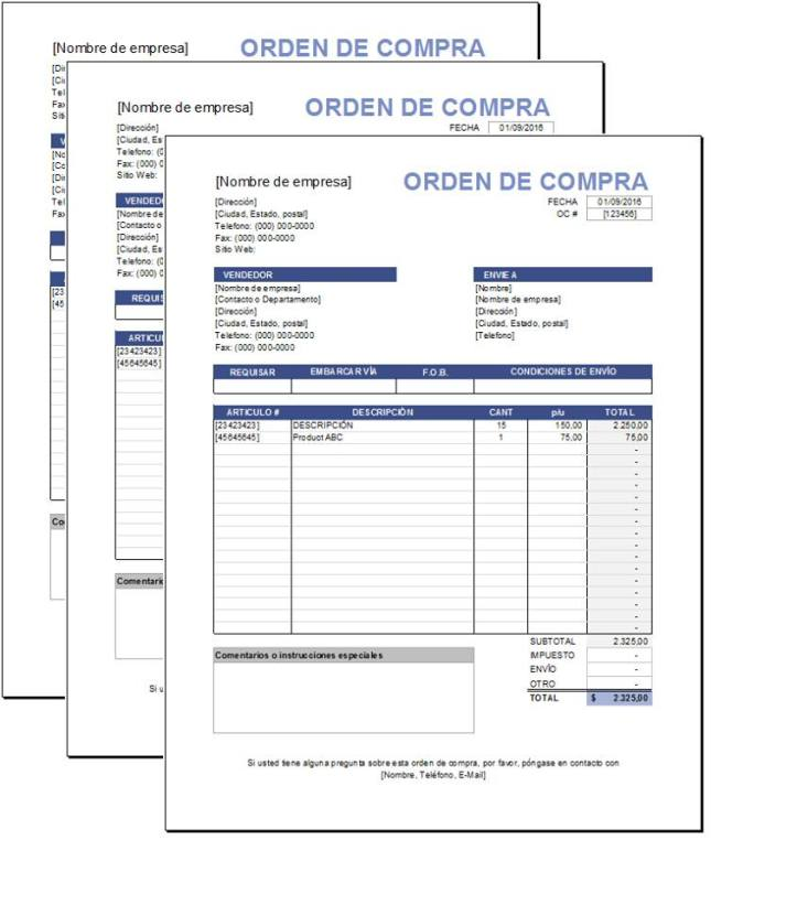 Plantilla de Orden de Compras Excel – Plantillas Gratis