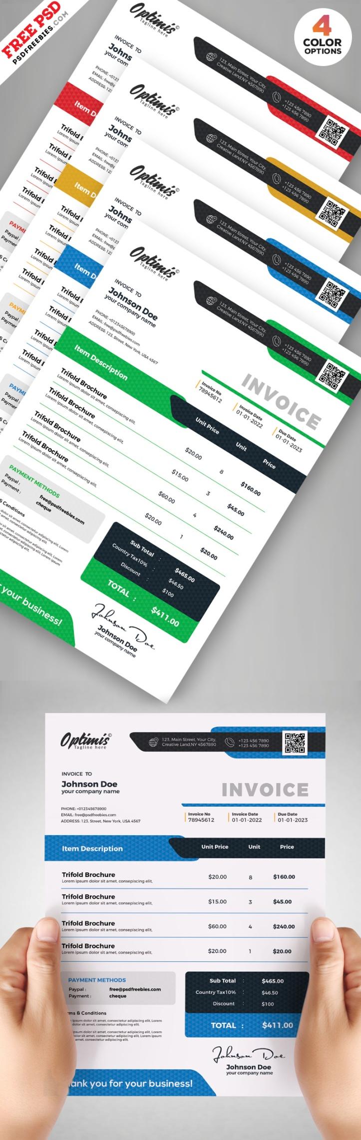 Plantilla de factura diseño comercial PSD descarga gratis