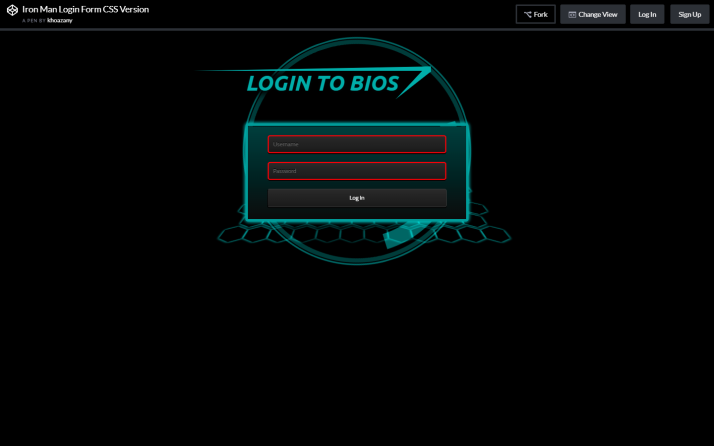 Iron Man Login Form CSS Version